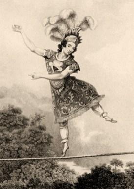 Litho: Seiltänzerin mit Federkopfschmuck auf einem Seil im Freien