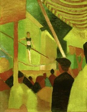Gemälde: Seiltänzerin mit Balancierstange im Zirkus