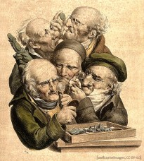 Farblitho: Fünf Händler betrachten Münzen mit Lupe - 1823