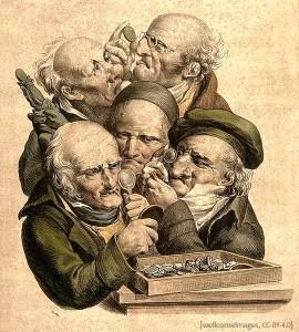 Farblitho: Fünf Händler betrachten Münzen mit Lupe