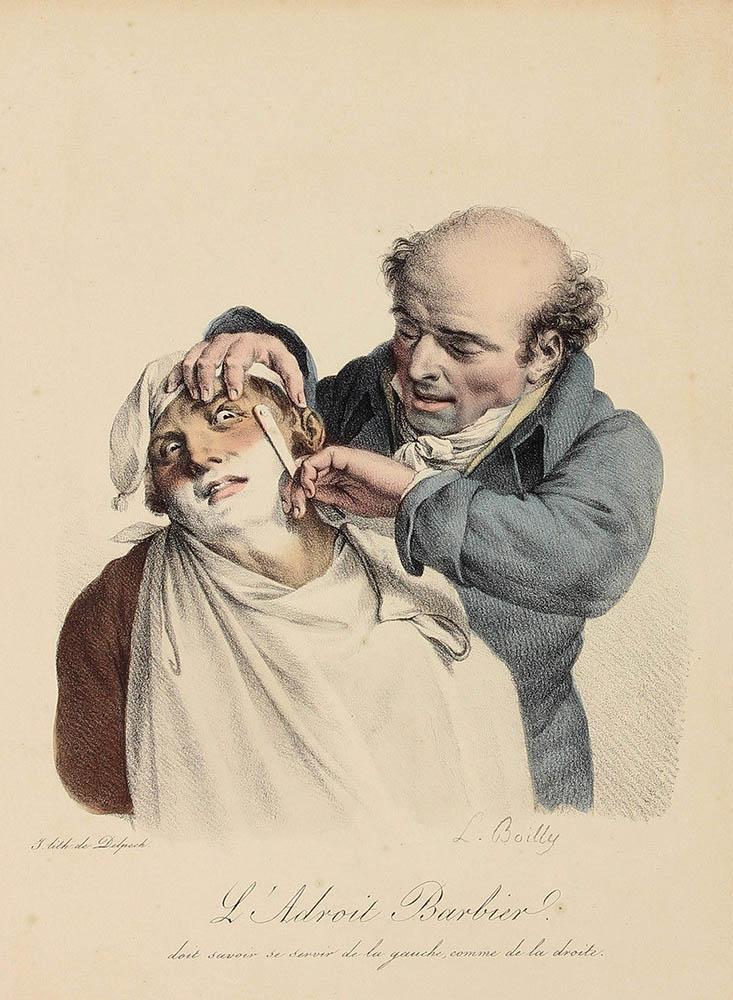 ängstlich schauender Kunde bekommt eine Rasur