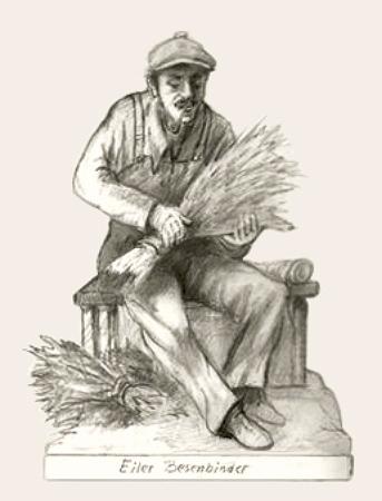 Bleistiftzeichnung: Pfeife rauchender Besenmacher bei der Arbeit
