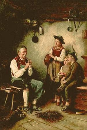 Gemälde: Frau und zwei Kinder lauschen einem Flöte spielenden Besenbinder