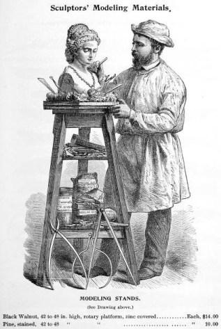Katalogseite: Bildhauer arbeit stehend an einer Büste