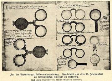 alte Handschrift mit Zeichnungen von alten Brillen