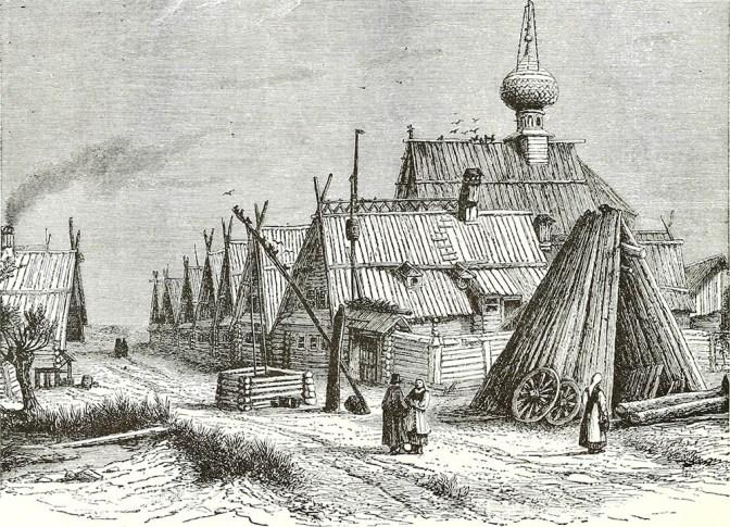 sw-Zeichnung: russisches Dorf mit einem Brunnen