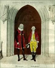 Aquarell: vor gotischem Türeingang stehend Hausdiener und Reitendiener in Tracht