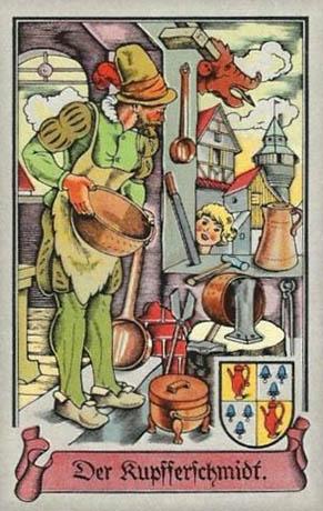 Sammelbild: Kupferschmied in seiner Werkstatt