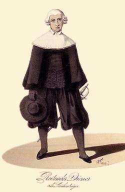 kolorierte Litho: schwarz gekleideter Herr mit weißer Perrücke, großem Rüschenkragen und Säbel