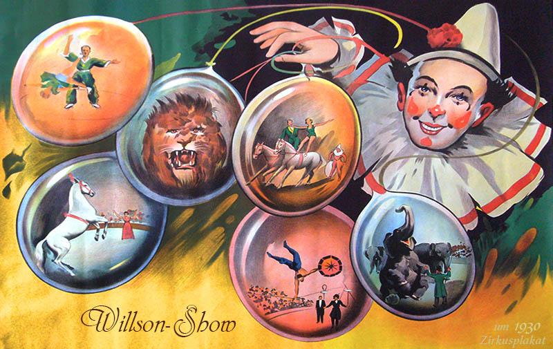 farbiges Plakat. Clown hält Luftballons an Bändern, in den Ballons sind diverse Zirkusdarbietungen dargestellt