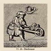 sw illu: Brauer transportiert Bierfass mit Schubkarre