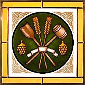Vintage-Glasbild: Getreide, Hopfen und Werkzeuge in einem Rundbild