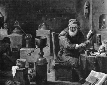altes Gemälde: alter Mann ist umgeben von Gefäßen