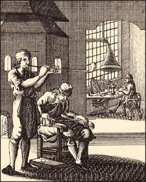 Kupferstich: drei Männer bei verschiedene Arbeitsschritten des Glasblasens - 1694