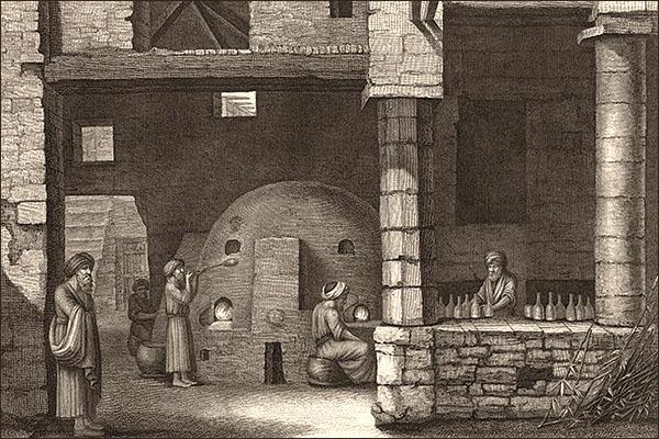 Stahlstich: mehrere bärtige Männer mit Turban stellen Glasflaschen her