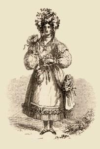 Kupferstich: Hopfenkönigin in mit Hopfen geschmückter Festtracht - England, 1870