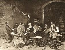 sw Gemäldefoto: Frauen, Kinder und Männer bei geselligem Hopfenzupfen - 1890
