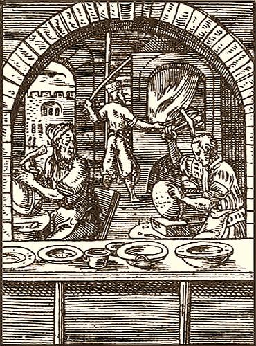 Holzschnitt: drei Kesselmacher bei der Arbeit - 1568