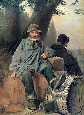 Gemälde: Pariser Lumpensammlerpaar rastet unter einem Baum - 1864