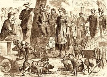 Holzstich: Lumpensammler in Polizeigewahrsam - 1870, NY