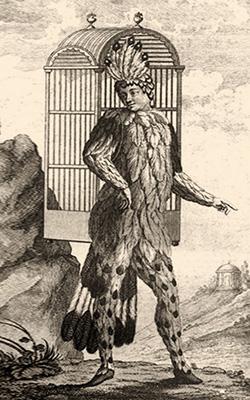Holzstich: Schikaneder im Vogelkostüm mit großem Rückenkäfig