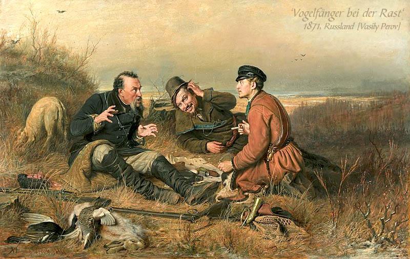 Gemälde: drei auf einer Wiese rastende Vogelfänger
