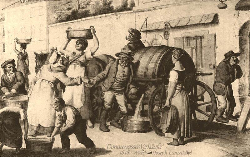 Litho: drei Wasserhändler mit Pferdegespann und großen Wasserfaß