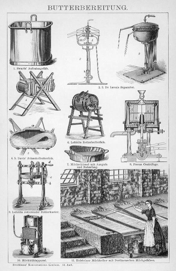 Enzyklopädie: Maschinen und Gefäße zur Butterbereitung