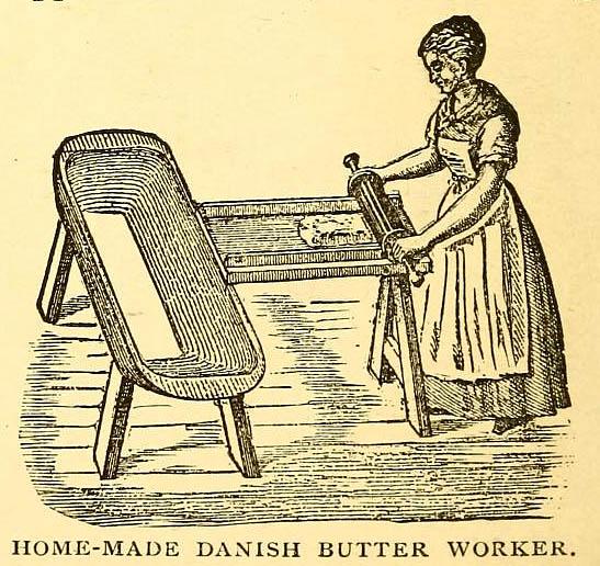 alte Abbildung: Frau rollt Buttermasse auf Brett in Wanne