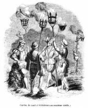 sw-illu: Nachtwache mit Gasfackeln