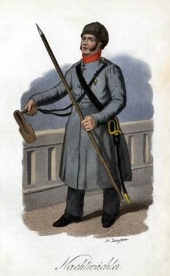 Nachtwächter in Uniform mit Stock, Säbel und Tasche