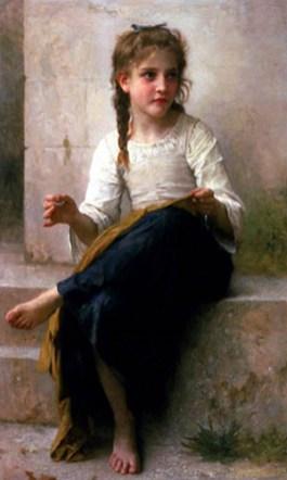 Gemälde: 'Die kleine Näherin' auf Steintreppe sitzend - 1888
