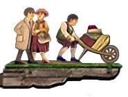 bemalte Holzschnitzerei: Wegweiser mit Paar und Gepäckträger mit Karre