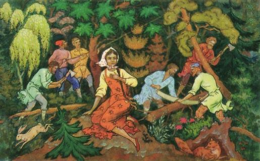 farbiges Bild: sechs Holzfäller beim Baumfällen; im Vordergrund junge Frau