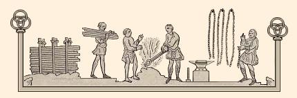 Zeichnung: Fertigungsschritte vom Rohling bis zur Kette
