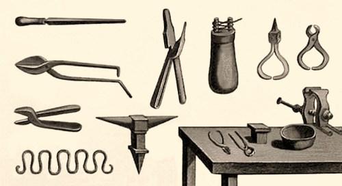 Zeichnung: Traditionelle Kettenschmiedewerkzeuge