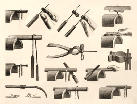 Zeichung: Werkzeuge Herstellung von Uhrenketten