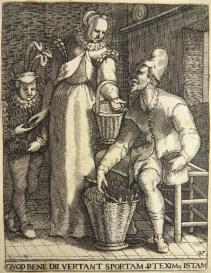 Mann beim Korbflechten, Frau will Geld von ihm