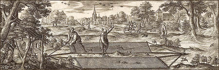 Holzstich: Vogelfänger in Aktion am Klappnetz - 1582