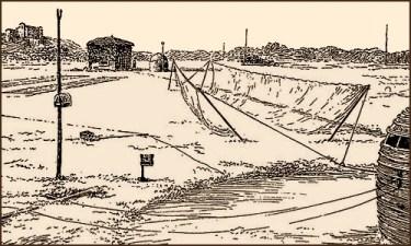 Federzeichnung: aufgespannte Netze als Fallen