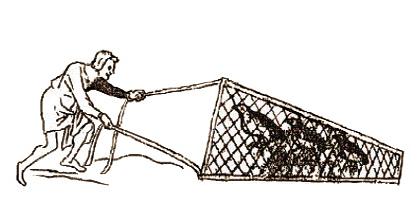 Zeichnung: Mann mit Rebhühnern im Klappnetz - 1500