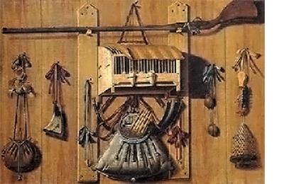Gemälde: diverse Fangutensilien an Holzwand hängen - 1650