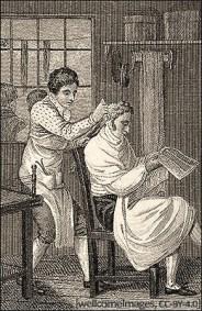 Kupferstich: ein Zeitung lesender Herr mit langem Haar wird frisiert - 1808, England