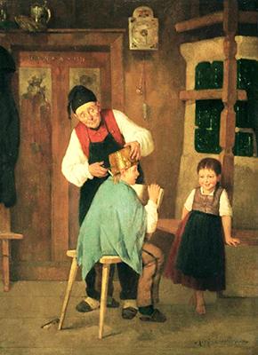 Gemälde: Großvater schneidet seinem Enkel das Haar um einen Topf herum - 1876