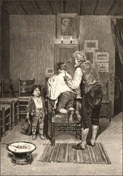 sw Litho: zwei Knaben beim Dorfbarbier - 1878