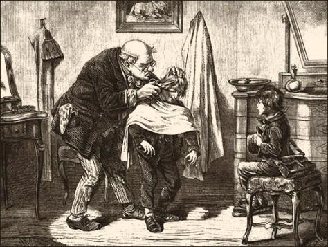 sw Stich: ein Knabe schaut zu, wie einem anderen das Haar geschnitten wird - 1880, Frankreich