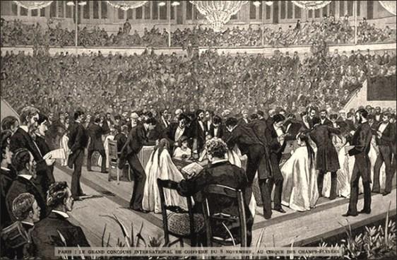 sw Litho: viele Friseure demonstrieren ihre Künste in einem Festsaal - 1880, Paris
