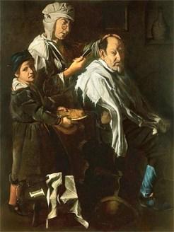 Gemälde: Haarschneiderin und kleiner Gehilfe bedienen einen Kunden - 1690, Italien