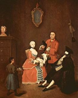 Gemälde: Dame und Friseur - 1760, Italien