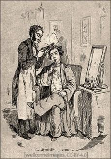 Kupferstich: ein Herr wird mit einer Lockenbrennschere bearbeitet - 1800, England